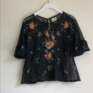 Anthropologie Maeve Embroidered Floral Mesh Top